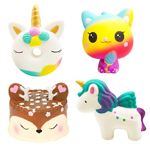 Viccent 4Pcs Jumbo Squishies Slow Rising Toys Set Unicorn Donut Ice Cream Cat Deer Cake Unicorn Horse Soft Scented Squishy Toy Kids Stress Relief Party Favors