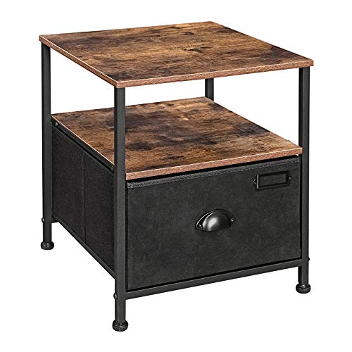 SONGMICS Nightstand, Bedside Table with Storage, Fabric Drawer Dresser, End Table with 2 Shelves, Industrial Style, for Living Room, Bedroom, Rustic Brown and Black LVT02H