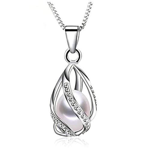 Colgante y Pendientes con Perlas Naturales de Agua Dulce y Plata de Primera Ley Perlas auténticas Clase AAA Set de Joyas para Mujer Esposa (Colgante)