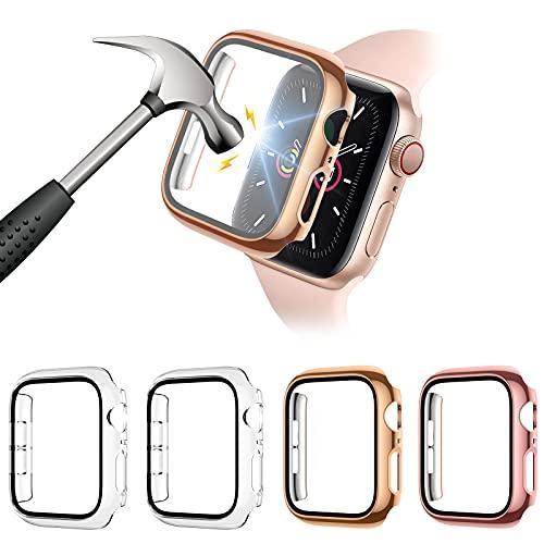 FITA [4 Piezas] Protector Funda Compatible con Apple Watch Series 6/5/4/SE 40MM Reloj,PC Case Protector De Pantalla Cristal Templado,Anti-Choque Caso para Compatible con iwatch 6/5/4/SE,40mm