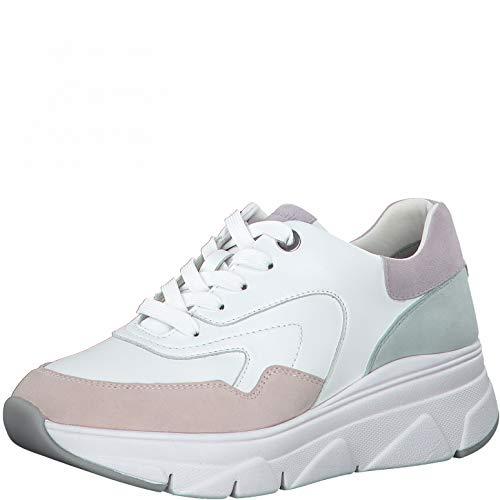 Tamaris Damen Low-Top Sneaker, Frauen Halbschuhe,Touch It-Fußbett,Ladies,Women's,Woman,schnürschuhe,schnürer,Ugly,dad,White/Pastel,38 EU / 5 UK