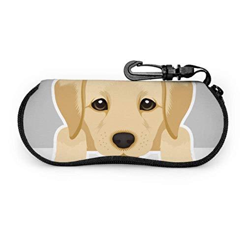 Estuche para gafas Estuche para gafas Retrato Labrador Retriever Cachorro Gafas Estuche Suave de Neopreno con Cremallera Bolsa Protectora de Gafas