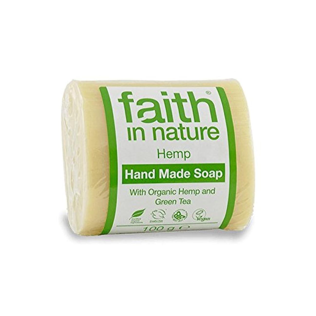 可決本部レバー緑茶石鹸100グラムと自然の麻の信仰 - Faith in Nature Hemp with Green Tea Soap 100g (Faith in Nature) [並行輸入品]