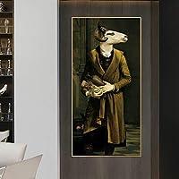 ヤギの伯爵夫人古典芸術絵画キャンバスアートポスターに印刷し、ヴィンテージ北欧芸術動物の写真を印刷します家の装飾-70x140cmフレームなし