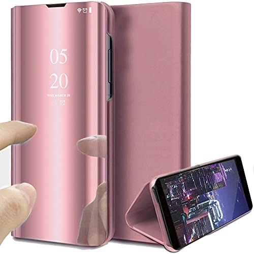 Funda para Samsung Galaxy S21 Ultra 5G, Flip Mirror Funda de Cuero para teléfono Celular Soporte Clear View Funda Protectora de 360 Grados con función de Soporte Funda de Espejo 6.8 Pulgadas