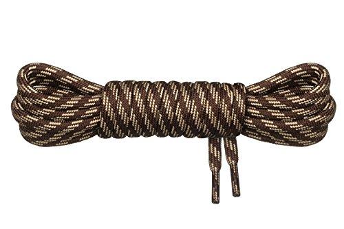 Di Ficchiano runde Schnürsenkel für Trekkingschuhe und Arbeitsschuhe - extra reißfest - ø 5 mm Farbe Braun-Beige-m3 Länge 130cm