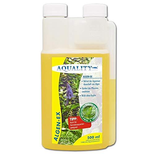 AQUALITY Aquarium Algen-EX (Erstklassiger Algenvernichter, Algenmittel, Algenentferner, Algenstopp - Befreit Fadenalgen, Bartalgen, Kieselalgen, Blau- + Schmieralgen), Inhalt:0.5 Liter