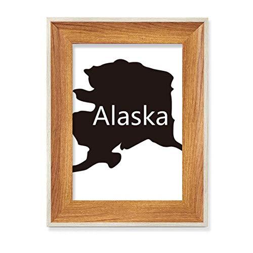 Alaska USA mapa estrellas rayas bandera escritorio marco de fotos de madera cuadro cuadro cuadro arte pintura varios juegos