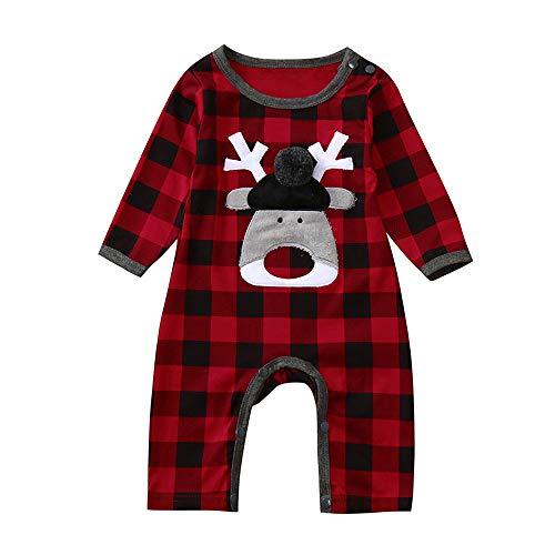 Homebaby - Bambino Ragazzo delle Neonate Babbo Natale Plaid Cervo Stampa Pagliaccetto di Natale Tuta a Maniche Lunghe Abito Impostato Costume di Natale Regalo Bambini