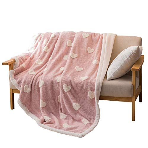 HZK Double-Sided Throw Blankets with Flannel Lamb Wool,Air Conditioning Blanket Bed Office Napping Blanket Coral Fleece Lamb Cover Wool Blanket Quilt Thicken,A,59x87inch WDDT