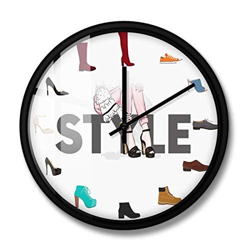 xinxin Reloj de Pared Varios Zapatos Imprimir Reloj de Pared para Dormitorio Femenino Zapatería Calzado Moda Decoración de Arte de Pared Zapatero Signo de Negocios Reloj de Pared Marco de Metal