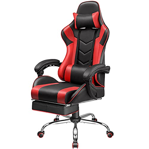 Homall Gaming Chair Computer Chair Racing Style Gaming Chair with Footrest Ergonomic Adjustable Swivel Office Chair High Back Computer Chair with Headrest and Lumbar Support (Red)