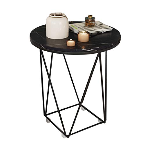 XWZJY Side Table Console Table Modern Furniture Round Coffee Accent Table for Living Room Bedroom Balcony Metal Frame (White or Black)