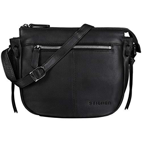 STILORD \'Bella\' Lederhandtasche Damen Echtleder Vintage Handtasche Klein Abendtasche Partytasche zum Ausgehen Umhängetasche mit Reißverschluss Echtes Leder, Farbe:schwarz