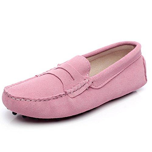 Jamron Damen Klassisch Wildleder Penny Loafers Gemütlich Handgefertigt Mokassins Slippers Rosa 24208 EU36