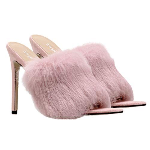 Happyyami Flauschige High Heel Hausschuhe Damen Spitzen Zehen Slides Sexy Slip auf Sandalen Peep Toe Heels Pelz Sliders Maultiere Lady Pumps Slides