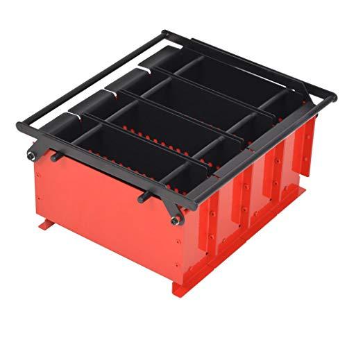 Presse à briqueter écologique de Papier Acier avec poignée, 38 x 31 x 18 cm Noir et Rouge