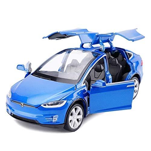 BJLWTQ Model Car Tesla X Off-Road SUV 1,32 Analog Die-Casting Alloy Sound and Light Pull Back Toy Model Car (Color : Blue)
