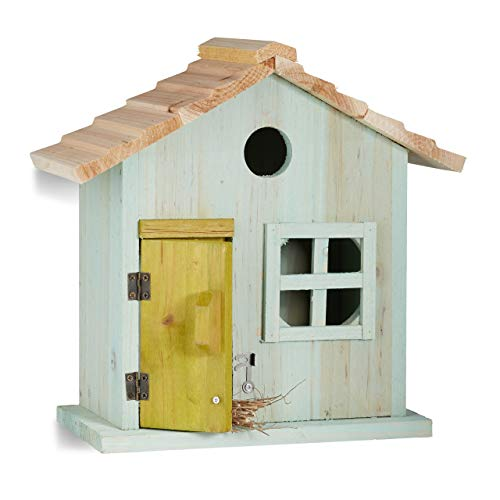 Relaxdays Nistkasten, Vogelhäuschen, Tür, Fenster, Holz, kleines Flugloch, Singvögel, HBT: 25,5 x 15,8 x 13 cm, hellblau