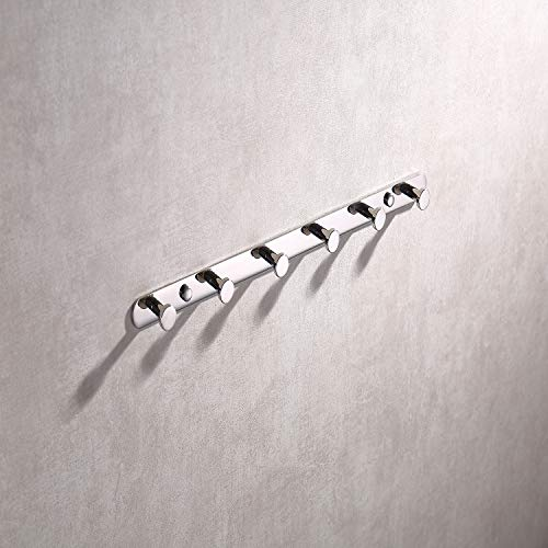 Bathroom Towel Hook Round Stainless Steel Polished Towel Robe Coat Rack/Rail with 6 Heavy Duty Hooks for Home Storage Organization for Hallway, Foyer,Wall Mounted