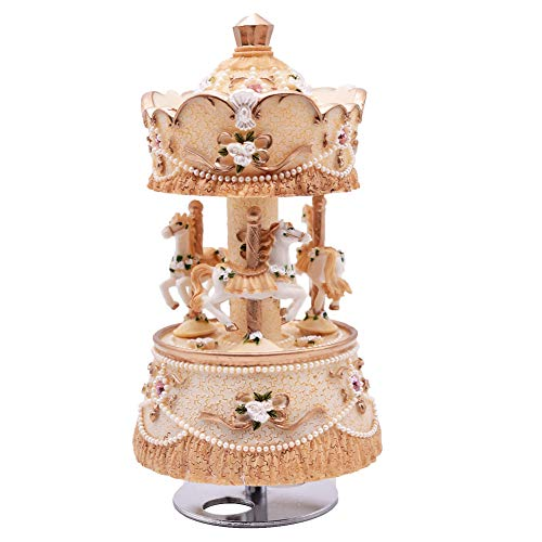 Youtang Clockwork Mechanism 3-Horse Carousel Music Box Melody Carrying You from Castle in The Sky(Laputa)(Yellow)