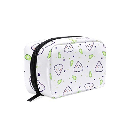 Cosmetic Bag with Zipper Cute Cartoon Rice Clutch Travel Storage Bag Organizer Case for Women Makeup Pouch Bag