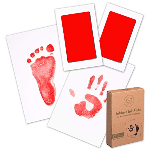 Baby Footprint & Handprint Inkless Ink Pad - 2-Pack Clean Touch Hand and Foot Print Keepsake Ink Pads - Paw Stamp Print - Babys Footprint Kit - Newborn Baby Stamp Pad Kits (Ruby)