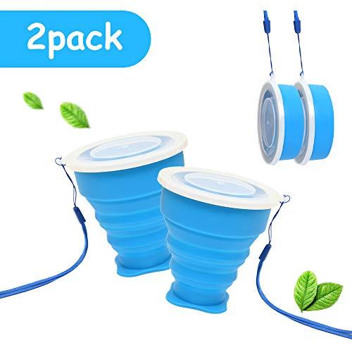 Tazza Pieghevole Retrattile Portatile a Livello Alimentare Senza BPA Silicone Outdoor Bicchiere per Viaggio Campeggio Escursionismo e al Lavoro (2 x Blu)