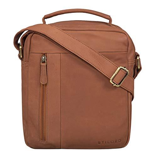 STILORD 'Mitch' Schoudertas herenleer met handvat en schouderband Boodschappentas mannen tas voor 11 inch iPad Vintage echt leer, Kleur:zadel - bruin