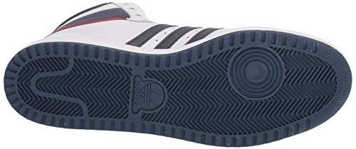 adidas Originals Men's Top Ten Hi Sneaker, Neo White/New Navy/Collegiate red, 4.5 M US
