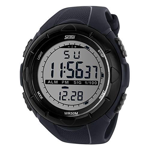 JTTM Deportivo LED Reloj Digital De Cuarzo con Correa De Gaucho Esfera Grande Multifunción Alarma Cronómetro Calendario Waterproof Wrist Watch para Hombre Chico 3 Colores A Elegir,Gris