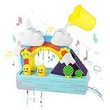 Juguetes de Baño para Bébé Bañera Juegos Bebe 1 2 3 Años Juguetes Educativos Estación de Cascada de Arcoíris con Música Luces Intermitentes Taza Bañera Tiempo de Juego Juguetes Acuáticos Regalos