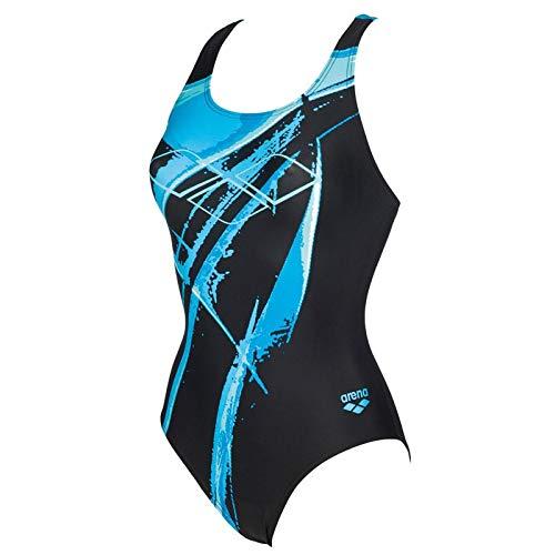 ARENA Backjump Piece Swimsuit Badeanzug Damen Schwimmanzug Schwarz Türkis, Farbe:Schwarz, Größe:34
