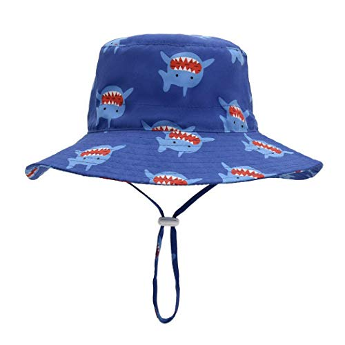 Foruhoo Baby Mädchen Mütze Sonnenhut, Kinder Hut UV-Schutz mit Kordelzug, Breite Krempe Sommerhut (Hai,54cm / 4-8 Jahre)
