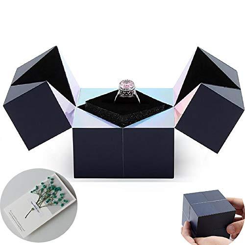 Ubrand Caja de joyería con Rompecabezas Creativo, Caja de Regalo de joyería con Caja de Anillo giratoria con Cubo mágico Divertido, Caja de Anillo para Mujer y Tarjetas de felicitación