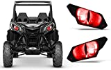 AMR Racing UTV Headlight Eye Graphics Decal Cover Compatible with Can-Am Maverick 1000 X3 Sport - Eclipse Red