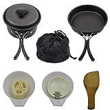 EElabper Utensilios De Cocina De Camping Kit De Picnic Utensilios De Cocina Conjunto De Campamento Sartenes Ollas Viajes con Mochila Caminatas Al Aire Libre Equipo De Cocina Negro