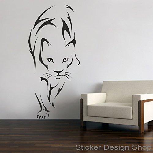 Tiger Löwe Leopard Puma Wandaufkleber Wandtattoo Wandsticker Aufkleber Sticker (130 x 59 cm)