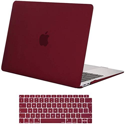 MOSISO Case Compatibile con MacBook Air 13 con Touch ID 2020-2018 Uscita A2337 M1 A2179 A1932 con Retina Display,Plastica Custodia Rigida Cover Shell&Tastiera Skin Cover, Marsala Rosso