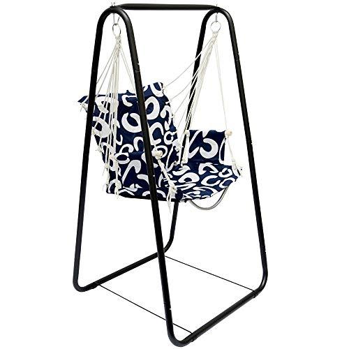Hängesesselgestell mit Hängestuhl Schaukel für Kinder und Erwachsene Komplettset Metall-Gestell mit Hängesitz in Blau für Innen und Außen