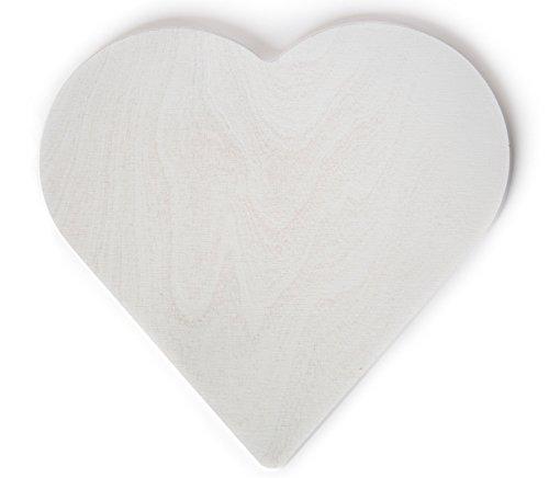 Stoods Holz Herz Weiß | Größe: 30,5 x 28,7 x 0,9 cm | für Maibaum, Deko, Hochzeit, Weihnachten etc. | Hochwertiges Birkenholz | für Indoor + Outdoor | Made in Germany