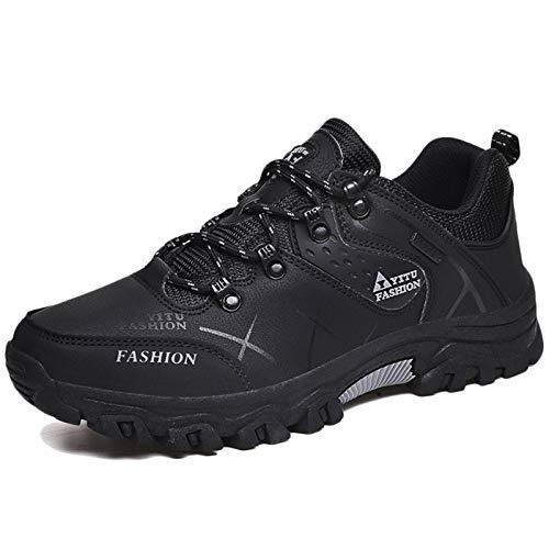 Koyike Hombres Botas de Montaña,Elegante Zapatos de Escalada,Mojadura Zapatos de Trekking,Resistente al Desgaste Antideslizante Zapatilla,Black-39