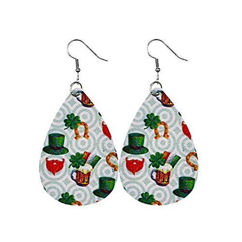 Moent St. Patrick's Day Leather Earrings,Drop-Shaped Printed Series Holiday Jewelry Valentine's Day Ireland Festival Gifts (J, 1 Pair)