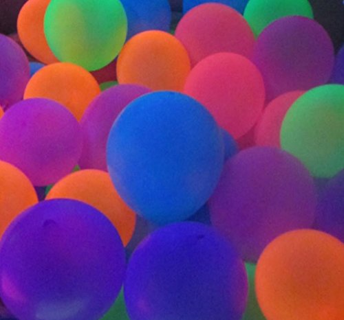 Blacklight Party Balloons That Glow in The Dark Under Blacklight - 25 Pack of 11 inch Neon Flourescent Latex Balloons