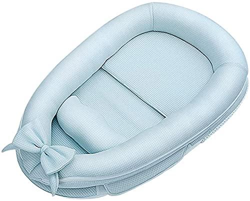 Saco de dormir para bebé – portátil y suave para nido de bebé, algodón transpirable, diseño biónico, adecuado para niños de 0 a 3 años (91 x 55 cm), color azul y rosa