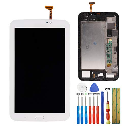 E-yiiviil Display Compatibile con Samsung Galaxy Tab3 7.0 SM-T210 GT-P3210 Touch Screen Display Assembly with Tools+Frame(Bianco)
