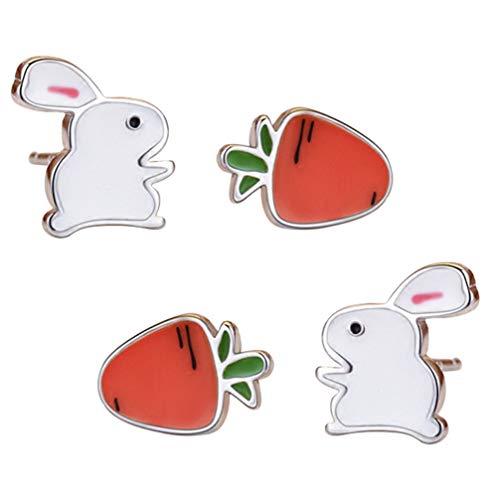 ABOOFAN 2 Pares de Pendientes de Conejo Pendientes de Conejito de Pascua Pendientes Decorativos de Zanahoria Pascuas Anillos de Oreja Regalos de Joyería de Pascua Regalos de Favor de