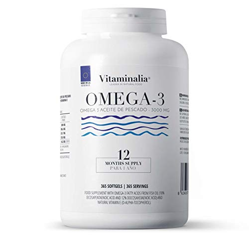 Omega 3 1000mg de Vitaminalia   Suministro Anual   Aceite de Pescado Omega 3 sin gluten   Ácidos Grasos Omega 3 18% EPA + 12% DHA   Sin OMG, Sin Lactosa   365 Perlas