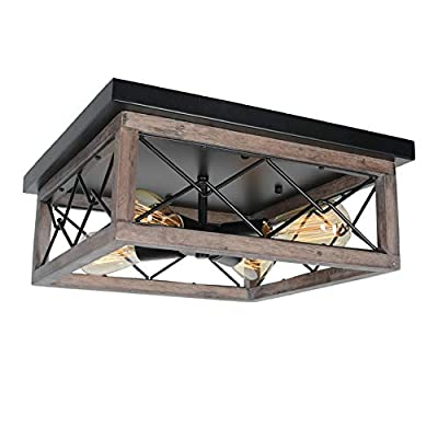 Baiwaiz Industrial Farmhouse Ceiling Lighting, Square Rustic Semi Flush Mount Wood Ceiling Light Black Cage Light Fixture Edison 4 Lights E26 103