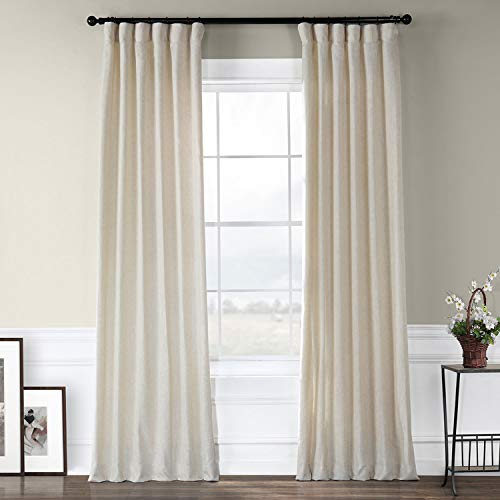 HPD Half Price Drapes FHLCH-VET13192-96 Heavy Faux Linen Curtain (1 Panel), 50 X 96, Barley